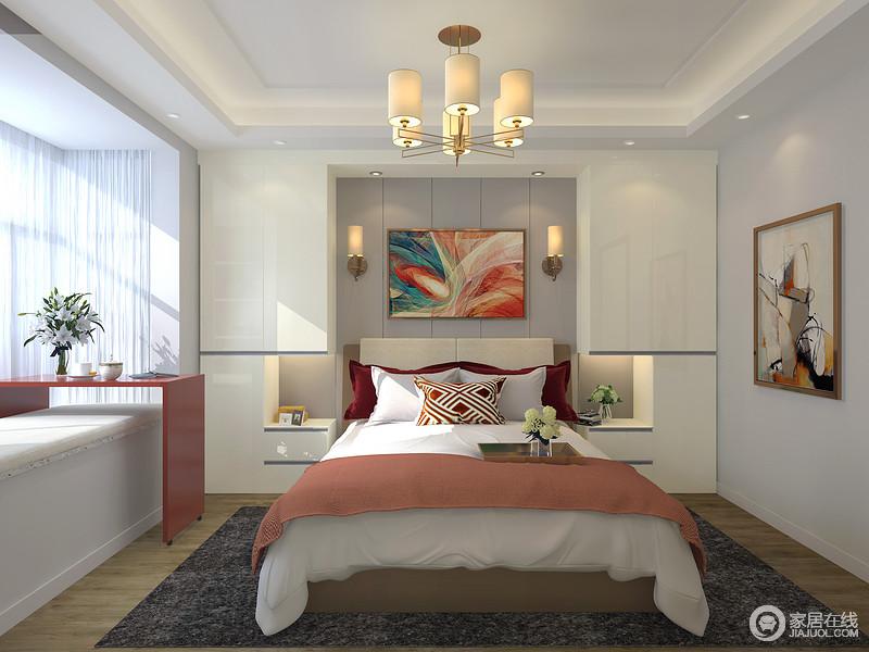 整体还是以浅色为主,造型吊顶让空间更加富层次感,墙面不需要太多的装饰,简单的挂上一幅装饰画足矣。用玫红色的床品来点缀空间丰富色彩,抓紧眼球。