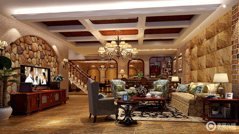 怀旧砖和鹅卵石铺陈出来的空间,充满了自然原始味道。花纹布艺则锦上添花般将家具的浪漫从自然元素中散发出来,使空间充满了复古休闲的悠然感。