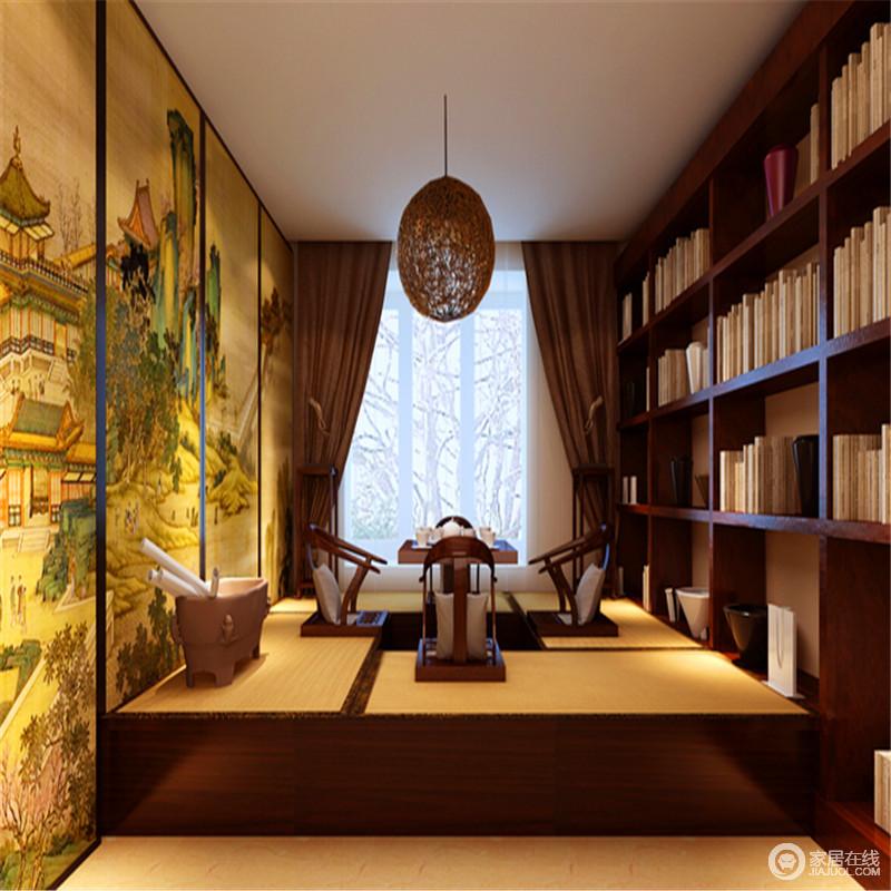 书房和榻榻米的结合,不但平时可以看书喝茶,还增加了储物休息的空间,何乐而不为;日式的设计,因为复古的中国画,让整个空间多了禅静之外的文艺气息。
