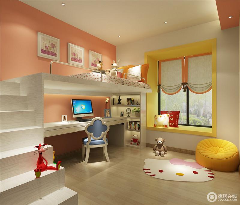 儿童房将活力十足的橘色、柠檬黄、甜美粉白、静谧蓝融合在空间里,利于刺激感官系统,提高宝宝对于色彩的认知和活泼性格的塑造。一体式书桌、架和床,腾出更多的活动空间。