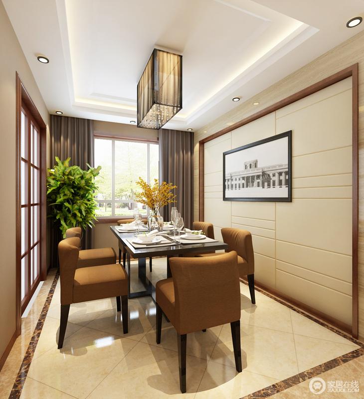 餐厅的设计遵循现代的方式,以木线来勾勒米色软包背景墙,褐色地砖来装饰米色地砖,色彩层次之中,加重了空间的几何感;现代家具大气而实用,正如玻璃推拉格栅门将空间分区一样,十分得体。