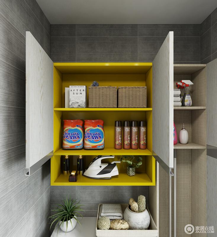 洗衣机上墙面空间可放置吊柜,用以储藏洗涤液、消毒液等物品,充分利用墙面空间增大空间收纳。