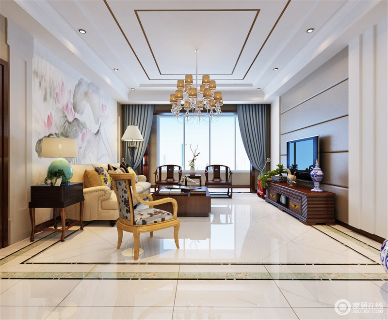 客厅结构简单,背景墙以灰色软包作装饰与白墙形成反差,却足够简洁,而沙发背景墙一副灰墨山水画搭配空间内的中式实木家具,烘托了一份东方禅静;黄色铆钉美式沙发与蓝色窗帘,给空间一份色彩,缓解厚重,带来生活的多样之美。