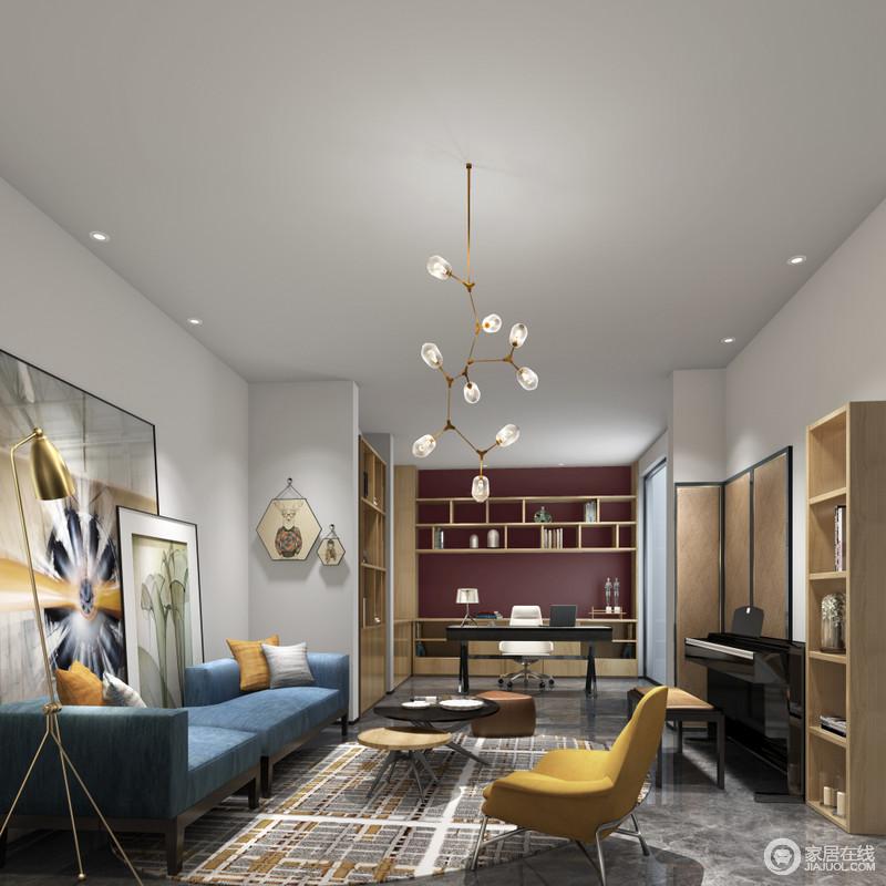 书房线条简洁,白墙灰砖形成色彩反差,而实木书柜、斗柜的简单实用,让收纳美学成为生活的新理念;紫红色墙面与黑色书桌搭配出了时尚,与休闲区的蓝色沙发、黄色扶椅的摩登一气呵成,并与挂画和屏风、地毯等一桌一椅,演绎文艺、安谧。