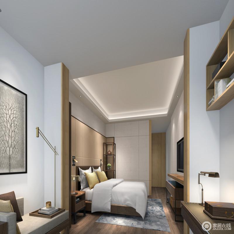 卧室结构自然地将功能作了分区,睡眠区和书房让生活更有条理性,再加上现代设计简洁的线条,让人十分舒适;原木地板搭配定制衣柜,搭配实木家具营造了朴质的氛围,精致地金属灯具与素色挂画搭配提升了空间的现代格调。