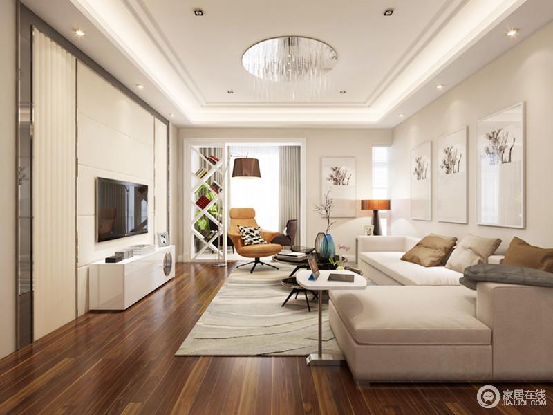 整个客厅十分温和淡雅,米色的基调带来一种舒适感,整个空间线条十分利整,搭配中性色的家具,大气而简洁;棕黄色单椅、挂画和线性地毯,装饰出家的别趣和现代质感,十分温馨。
