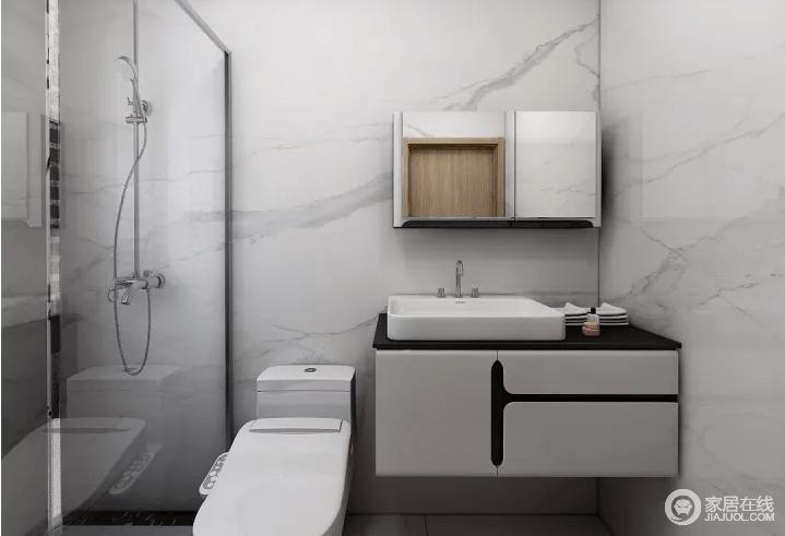 卫生间淋浴隔断给人简单简洁感,呈现出整个空间不一样的质感。设计中通过干湿分离来解决不必要的麻烦,同时,也借盥洗台解决收纳问题。