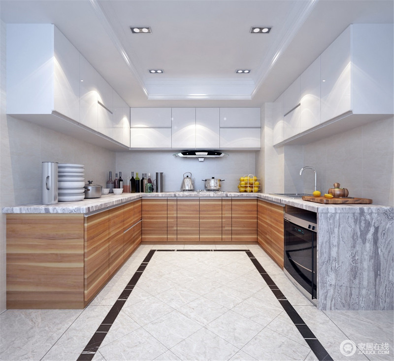 厨房以浅灰色的地砖搭配黑色矩形砖线的方式来化解驼色墙面的暗沉,渲染一份沉静;白色吊柜和原木橱柜因为U型的设计更为得体和规整,并以实用主义成就生活的质感。