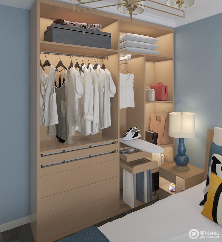 为了穿着的平整靓丽,上身前用熨斗烫熨下则十分必要,利用抽屉原理,将烫熨的工作台做成小机关自由伸缩,是衣柜中最贴心的设计。