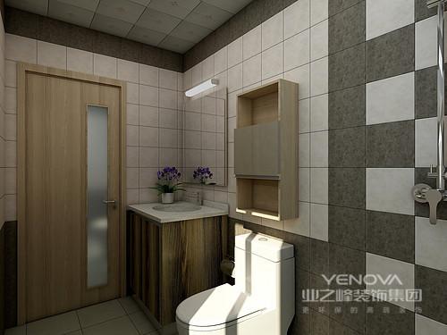 卫生间虽然空间有限,但是主人却将空间的功能挖掘到极致,原木的盥洗柜搭配精致和吊柜,小巧却够实用;白色方砖因为灰色砖石个性的铺贴形式,让墙面具有了几何感,简单却让生活具有了创意性。