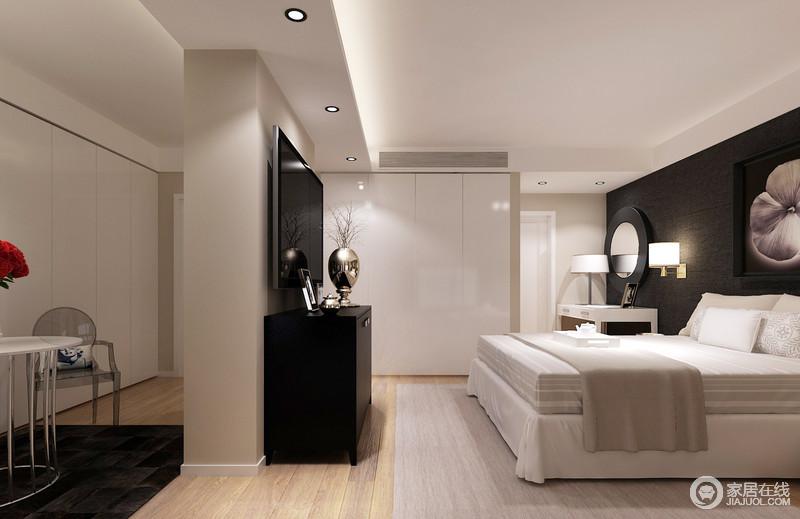 卧室的结构自然做好了分区,让私密性更强,白色调的空间因为黑色背景墙和边柜的装饰,上演抽象艺术;白色衣柜嵌入期间,实现功能 之外,还起到简单的分区,金属壁灯和精致的器物,装饰出生活的时尚与质感。