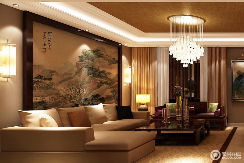 客厅方正大气,一副中式写意图将主人的生活体现得淋漓尽致,而中性色现代沙发、布艺,因为黑色茶几和白色水晶灯而现代精致,让生活更有温情。