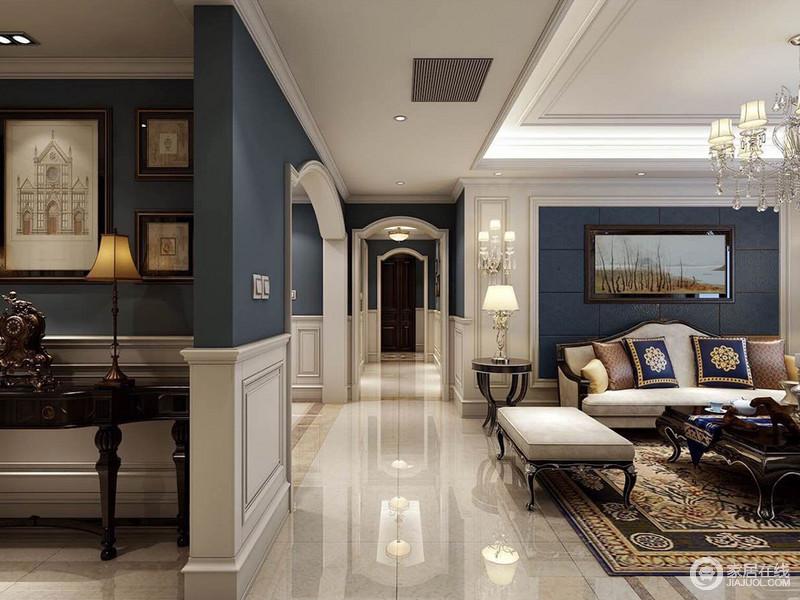 美式 墙裙_连接各个空间的走廊,以连续的拱形门洞形式,制造视线上的 ...