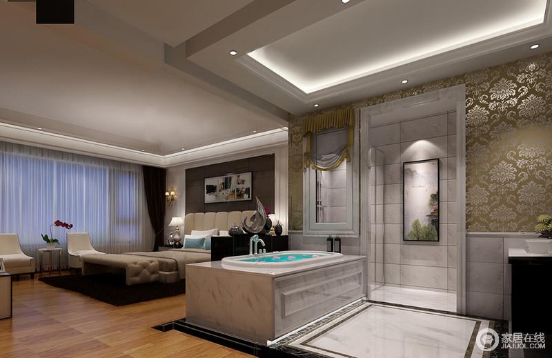 卧室分为两个区,休闲区和盥洗区,让生活十分方便;整体设计以古典设计赋予空间文化底蕴,沐浴区与睡眠曲以不同形式的设计,打造品质生活。