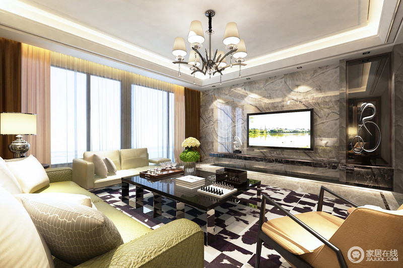 客厅以灰色大理石来装饰背景墙,灰静之中多了份天然古朴,绿色沙发给空间带来一丝清爽,缓解了黑白家具的单调,裹挟出活力。