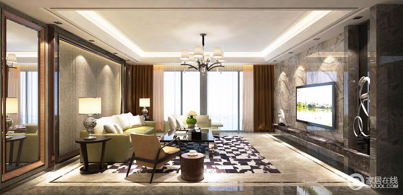 客厅以结构和动线作区分,让整个空间足够规整;绿色系沙发搭配爱马仕橙单椅,赋予空间色彩感,白色靠垫与黑色桌几让空间够大气和经典。