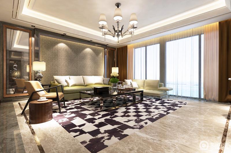 客厅以灰色系为主,黑白色的地毯为空间带来经典摩登;现代风的家具和配饰错落有致地陈列在空间,赋予生活更为温馨和舒适。
