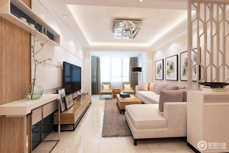 客厅狭长,有着景深感,木枝屏风将其与门厅区分,让空间在保证功能性的同时,也具有美感;灰色布艺沙发、褐色地毯及窗帘打造空间色彩层次,而小木桌上的花器搭配画作,让生活简朴文雅。