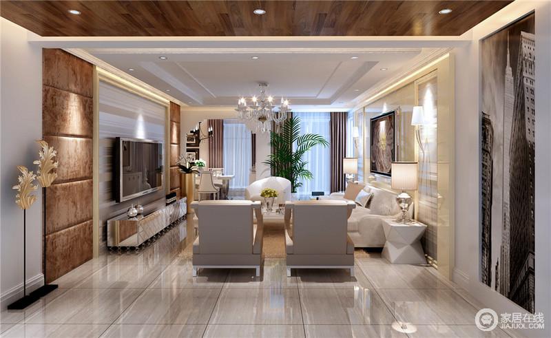 客厅与玄关区通过木吊顶连接,让顶面设计具有变化感;矩形石膏吊顶更是与灰纹地砖构成色彩层次,大气朴素;背景墙以矩形结构呼应,却以金属板材和木框、咖色软包、艺术画、壁灯等塑造各自的特色,现代之中蕴藏着复古轻奢;多边形边几、金属杯状台灯和现代古典沙发、银色床头柜和艺术摆设,让空间混搭出 多趣的品质。