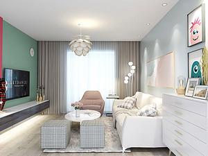 新富家园三居室 123㎡ 现代混搭风格