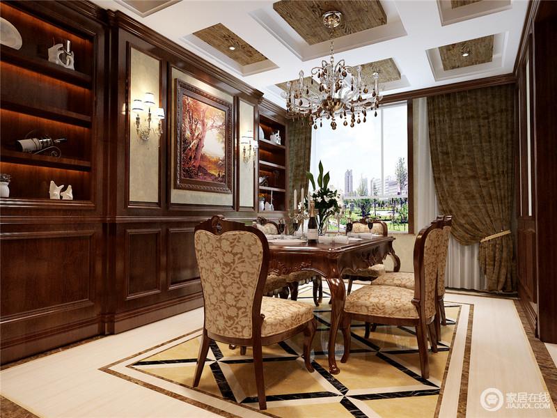 叠加拼花地砖同样在餐厅中使用,像一块华丽地毯,有序的规划出用餐区域,搭配柔软花纹的欧式餐椅,意蕴悠扬,从里到外散发出高贵优雅的进餐格调。