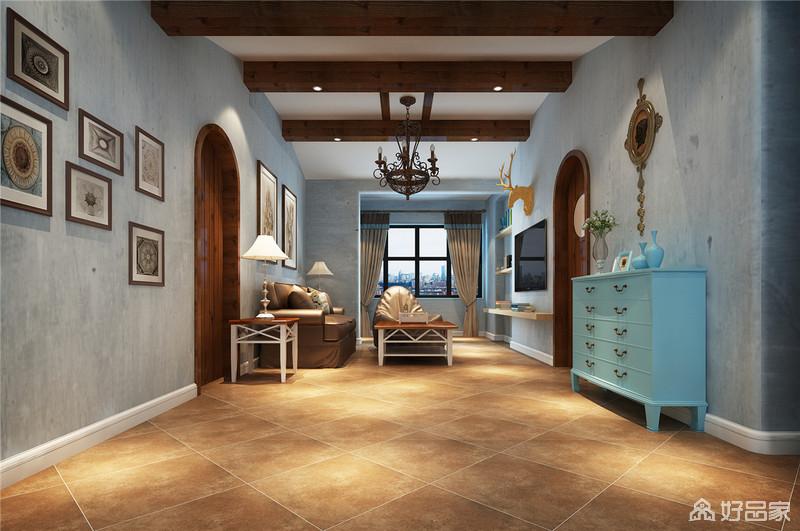 客厅设计以独特的北欧洞穴风格为基调,并将裸露地木梁凸显出来,让美乡村的朴质也带入空间;土黄色的地砖搭配美式家具,给予主人想要的厚重感,同时,借摆件和蓝色边柜给予生活些许泼趣。
