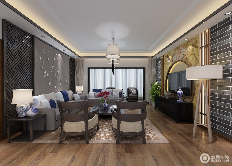 客厅以简洁大方的灰色为主色调,富有中国韵味的电视背景墙在沙发和原色地板的辉映下,充满了生的活力。
