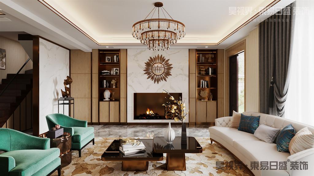 """客厅取消了传统的电视背景,取而代之的是储物空间和书柜。增加了房子的实用性和文化气质。将客厅空间的作用从""""看电视""""转化为看书,家人团聚,聊天谈心的家人团聚交谈空间。"""