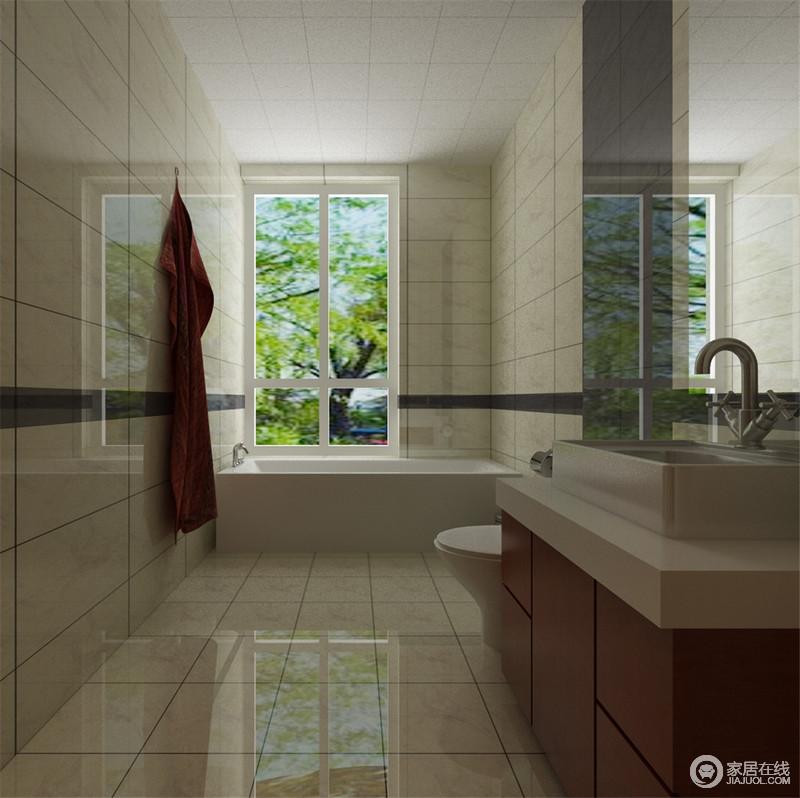 卫生间铺贴了中性色的瓷砖,釉面光与窗户的光线交织在一起,令空间十分明快;浴缸区靠窗,解决了潮湿的问题,而盥洗柜的简洁实用,足够满足日常生活。