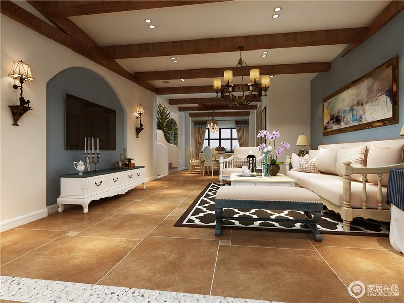 本别墅户型面积并不大,因此如何体现奢华、高艺术品位又不失空间利用率,以及如何确定布局形式等都是本设计关键;所以,设计师以美式设计为主,通过褐黄色的地砖搭配美式古典家具,凸显空间的美式格调,用色上以蓝白为主,给予空间清新和快。