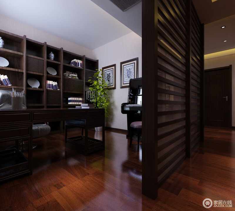 书房半开放的设计因为隔断多了别致,几何书柜能容纳足够的书物,与中式书桌构成沉淀感;钢琴坐落在角落,让主人在休闲之余,可以娱乐一番。