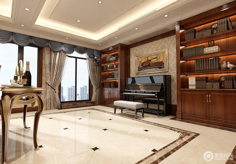设计师利用休闲室为主人打造了一个独立的钢琴房,自享音乐带来的快意;从驼色浮雕壁纸到窗帘,呼应着米色地砖,更是营造了素雅与大气,钢琴两侧的实木书架让空间的文艺气息更为浓烈。