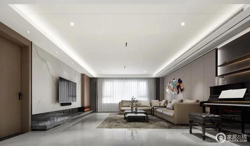 客厅的空间干净利落,采用双侧灯光吊顶,提升空间的层次与氛围,方正而宽敞;采用大理石饰面作为电视背景墙,细腻流畅的花纹,自带天然美感,而储物柜与房门同色带来视觉上的平衡,令整个空间中性之中蕴藏着温婉。