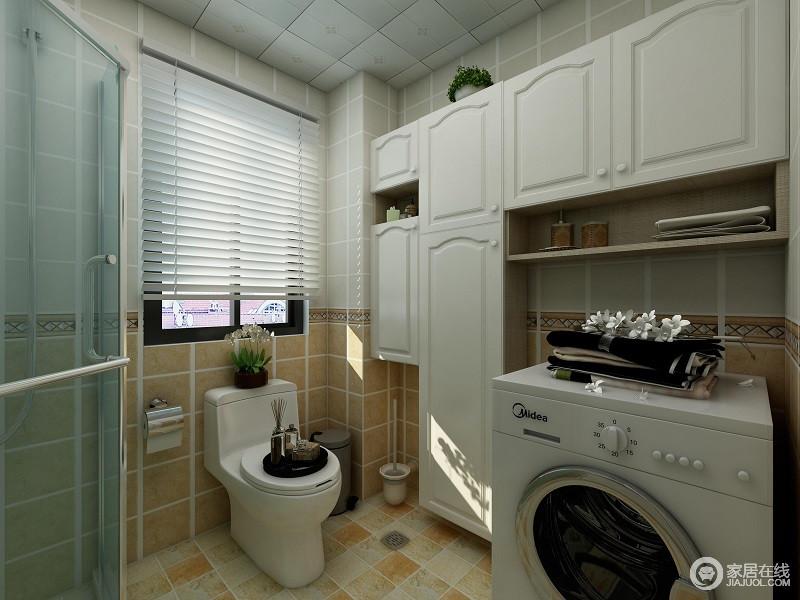 黄色的墙砖,白色的橱柜,两种颜色在这个空间里尽显柔和,卫浴空间做个干湿分离的设计,让你在生活和洗浴都能够明显区分开来。卫生间还在收纳柜的空闲之处留了洗衣机的位置,这样小小的设计细节却增加了空间的利用率。