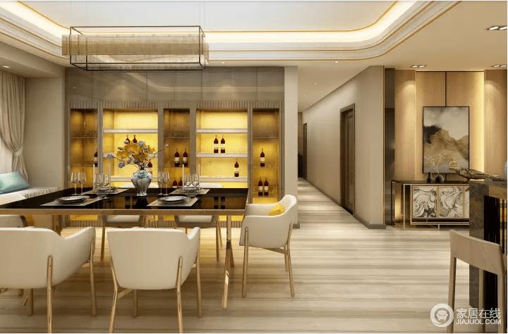 开放式的空间带来一种空间感,同时,通过动线与结构做了区域的区,让生活不失互动;定制得酒柜因为内藏地灯带渲染了恍如酒吧般的璀璨,同时,为空间带来了黄色的耀眼;黑白桌椅成套组合演绎时尚,也因黄铜底座,带来轻奢。