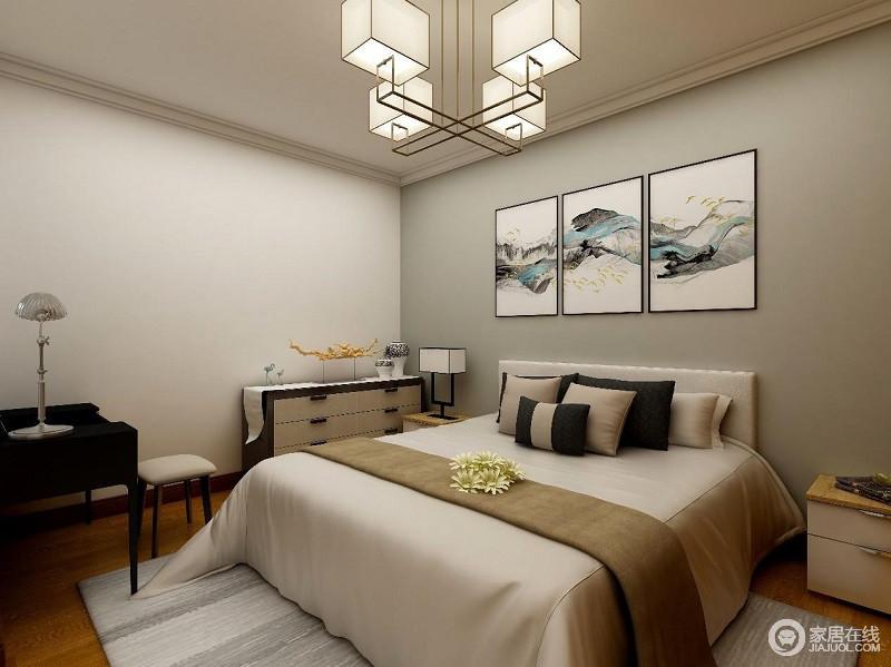 卧室空间主要采用了米白为主色,在床头的挂画映衬下,显得浑然天成。