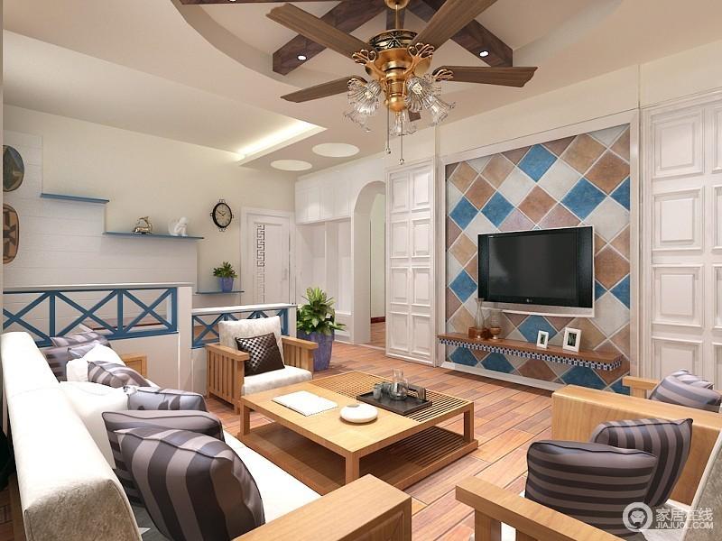 客厅空间用马赛克砖铺贴背景墙,搭配白色的护墙板,既有着层次又富有立体感;地面上朴质素雅的木质地板,配上原木布艺沙发,流露出一股自然气息;一侧的蓝白镂空隔断,则优雅的划分空间。
