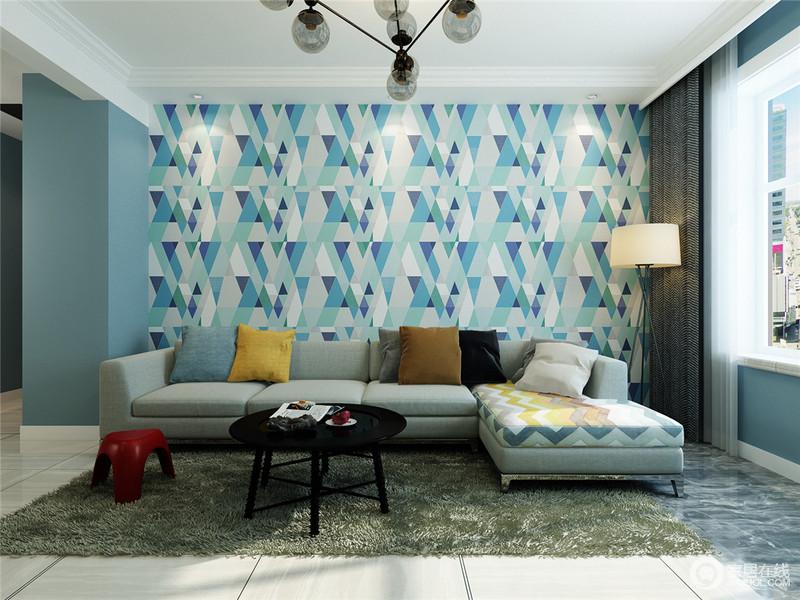 大色块的运用,极简风渲染到位,不腻的黑白家居,纯粹的表露。沙发背景墙棱形撞色壁纸,彰显个性风范,时尚前卫时髦范儿。