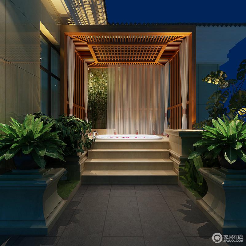 设计师将浴室挪到户外露台上,以自然环境为背景,制造独具天然情调的沐浴环境,在星光、绿植、竹生和香氛营造下,使身心得到惬意舒缓和自在;木质亭台的搭建,纱帘的围挡,保证空间的私密性。