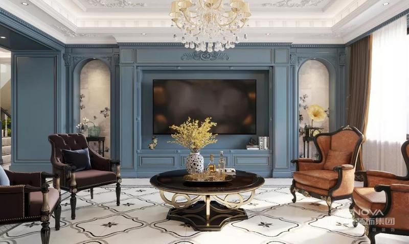 宽敞通透的客厅区域,用水墨蓝作为背景色系,让人沉静在轻松的氛围当中。