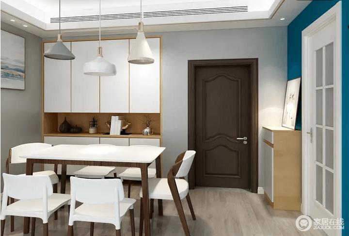 餐厅的餐边柜还有餐桌,餐椅都主要采用了白色,视觉的上就让人觉得在用餐的地方非常整洁,用餐心情也会变得享受。