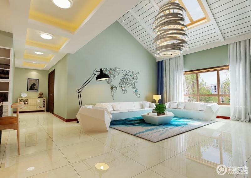客厅的人字形吊顶赋予空间古堡的结构之美,板材层层铺贴多了线性之美,豆绿色的漆渲染出空间的清新;白色沙发和茶几组合在蓝色地毯的陪衬中,赋予空间海天一色的清灵,让人心旷神怡。