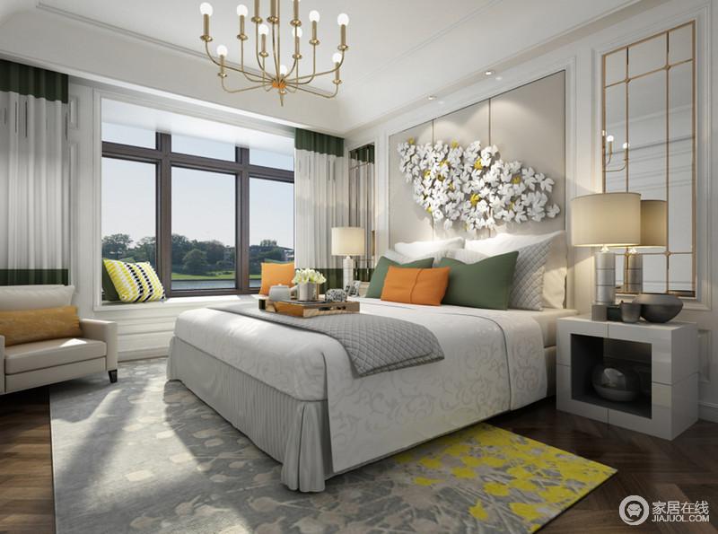 现代的卧室以白与灰色为组合,灰色拼接背景墙因为花饰装饰多了田园之意,搭配灰色和黄色组合的地毯,寓意收获和温馨;飘窗处的白色窗帘与现代家具、金属质地的灯具营造着大气与温和。