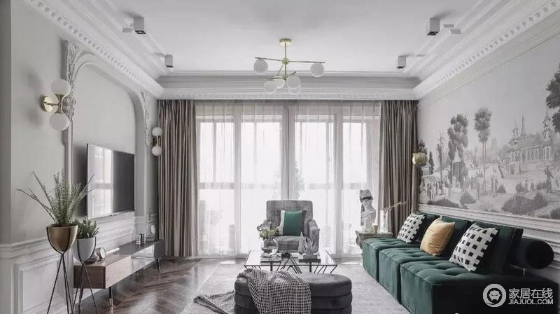 客厅以白色和浅灰色为基调,新古典的石膏造型搭配背景墙的石雕设计,极具工艺之美;胡桃木色鱼骨纹路地板与中性色的窗帘组合,形成空间的沉静,而经典祖母绿丝绒沙发,搭配现代经典造型的千鸟格单人沙发和灰色绒面弧形榻凳,营造大气雅致韵味,古典之中,不乏现代时尚气息。