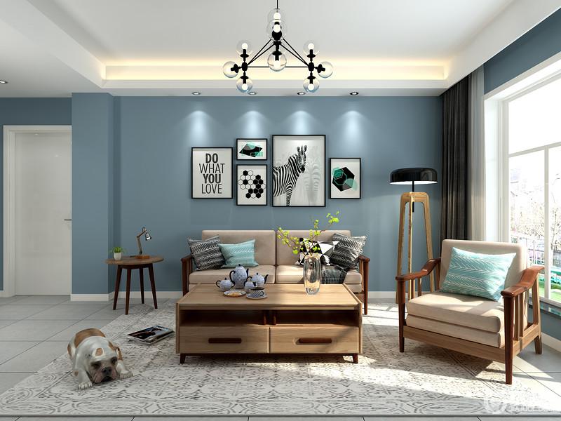 客厅以白色吊顶和蓝色漆的背景墙奠定空间的天海一色,清幽而洁净,自造一种宁静和平和;灰色编织毯搭配胡桃木简约家居,裹挟出生活的温实,而落地灯和简约的挂画,都凑成生活的北欧至简。