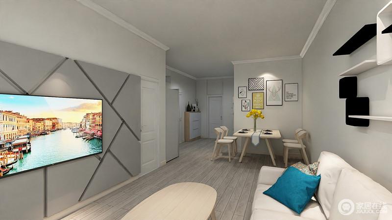 客厅与餐厅一体式设计,让两个空间的沟通亲密;原木风的餐椅呼应着椭圆形的餐桌,并与沙发色调相近,视觉上得到清新延展;背景墙上装饰的照片墙,为空间增添了一丝文艺气质。