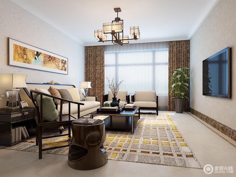 新中式的客厅以米驼色墙面,搭配米色地砖构成空间的米色和暖;格子状的地毯和米色布艺沙发形成一色,却在新中式胡桃木家具的衬托中,散发着东方庄重。