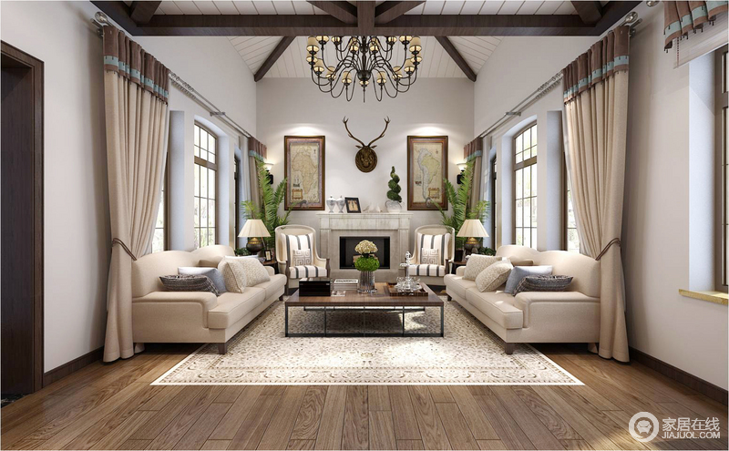 空间以壁炉为中心,将驼色布艺沙发、扶手椅及台灯、挂画陈列在两侧,对称的方式,表达和谐端庄;整体美式风格搭配的天衣无缝,褐色实木地毯与之呈色彩反差,却早就温馨。