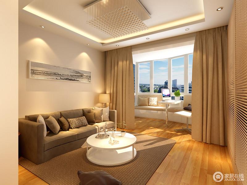 休闲室的吊顶以几何简洁成就空间结构的方正,灯带与水晶灯实现空间的采光需要,并装饰出现代精致;飘窗的私人温馨休闲区凸显了主人的品味,深褐色沙发与地毯因为驼色窗帘、白色圆几,让生活简单,却满是舒适。