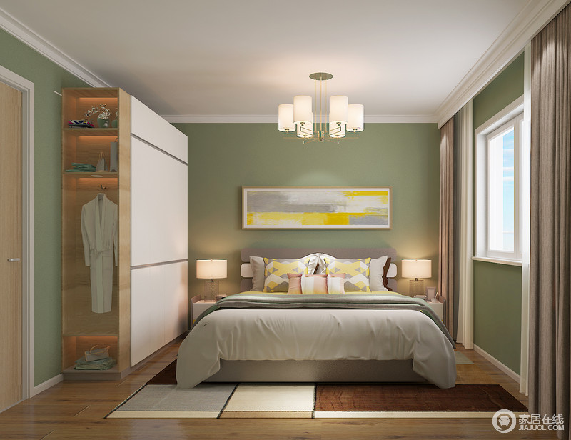 卧室延续整体设计的色调和风格,以绿色漆渲染生活的自然清新,让主人丝毫不感到压抑;而白色定制的衣柜多了悬挂区也是颇为人性,同时搭配床头柜和台灯,彰显对称之美,满是和谐;几何拼色地毯与黄色挂画异曲同工之妙,镌刻出艺术气息。